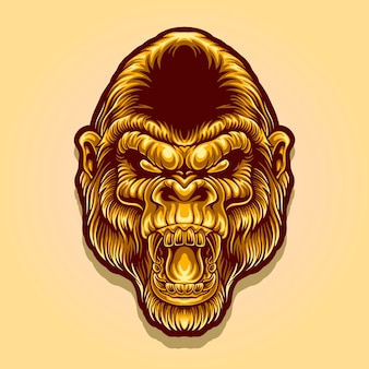 Logo de mascotte tête de gorille doré
