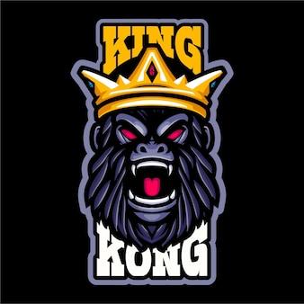Logo de mascotte tête de gorille du roi kong