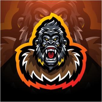Logo de mascotte de tête de gorille esport