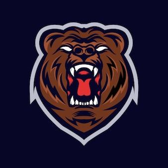 Logo mascotte tête de grizzli
