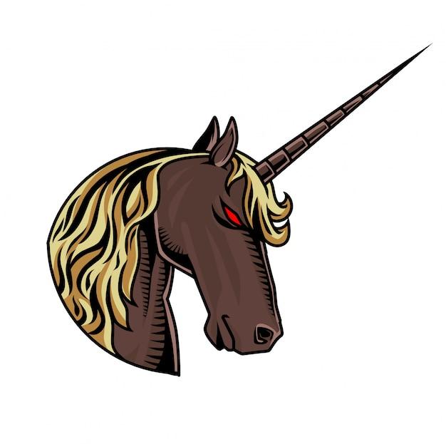 Logo mascotte tête de licorne