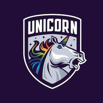 Logo de mascotte tête de licorne