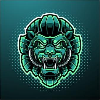 Logo mascotte tête de lion vert