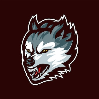 Logo de mascotte de tête de loup pour l'esport