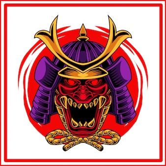 Logo de la mascotte de tête oni samurai