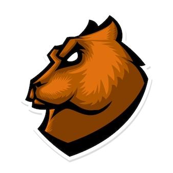 Logo de la mascotte de la tête d'ours grizzli