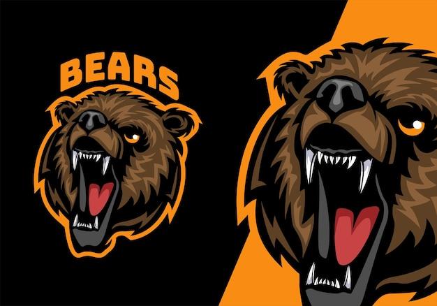 Logo de mascotte tête d'ours grizzly