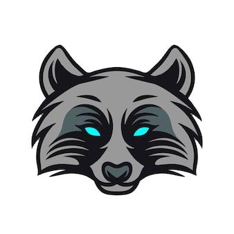 Logo de mascotte tête de raton laveur