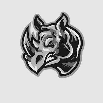 Logo de mascotte tête de rhino furieux esport illustration