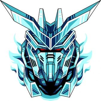 Logo mascotte tête de robot bleu