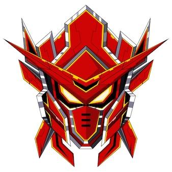 Logo de mascotte tête de robot rouge