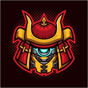 Logo de la mascotte de la tête de robot shogun