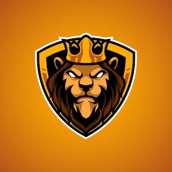 Logo de mascotte tête de roi lion