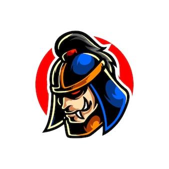Logo de mascotte de tête de ronin