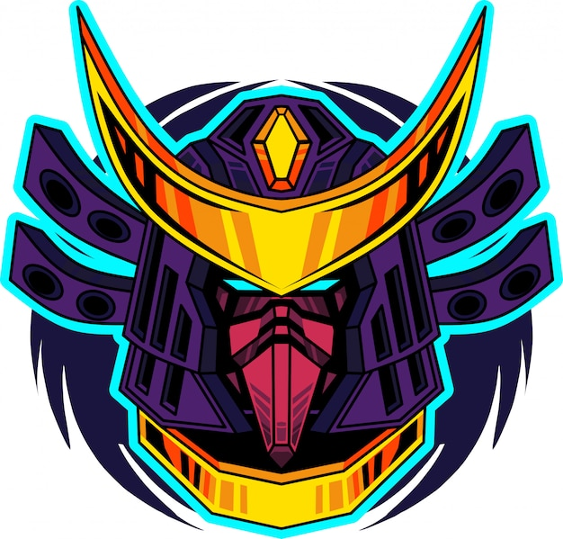 Logo mascotte tête de samouraï