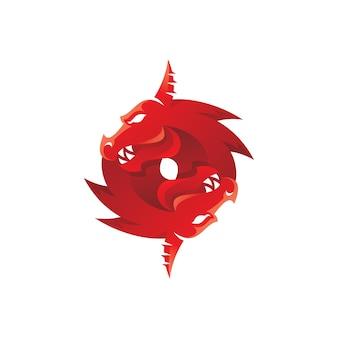 Logo de mascotte tête de serpent dragon