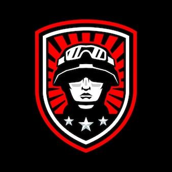 Logo de mascotte de tête de soldat