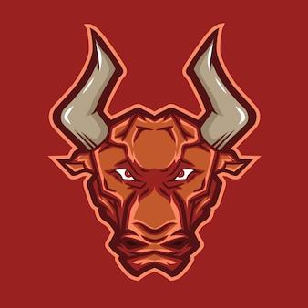 Logo de mascotte tête de taureau
