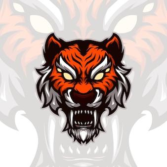 Logo de mascotte de tête de tigre gaming esports