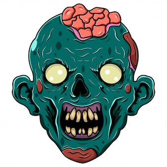 Logo mascotte tête de zombie