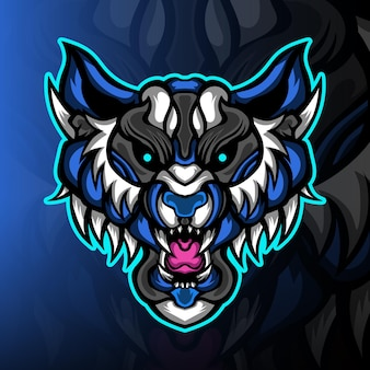 Logo mascotte tigre bleu power esport
