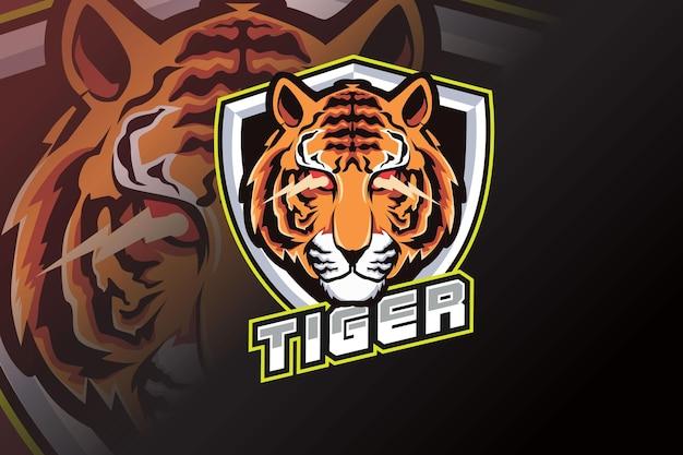 Logo de mascotte de tigre en colère pour les jeux de sport électroniques