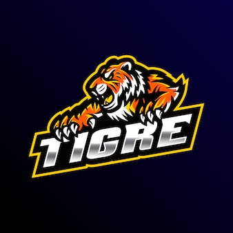 Logo de mascotte tigre gaming illustration esport