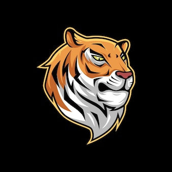 Logo de mascotte tigre orange vector illustration