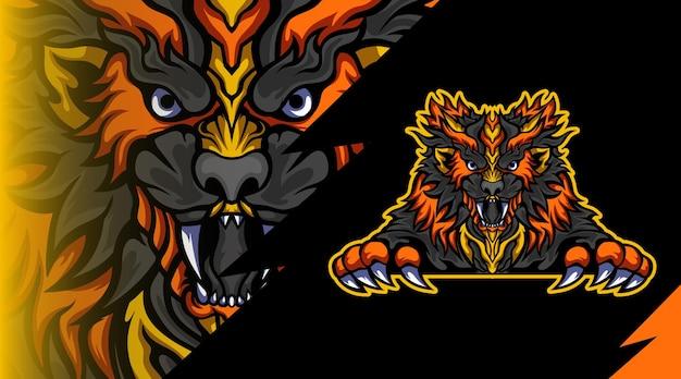 Logo de mascotte de tigre pointu