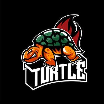 Logo de la mascotte de tortue en colère