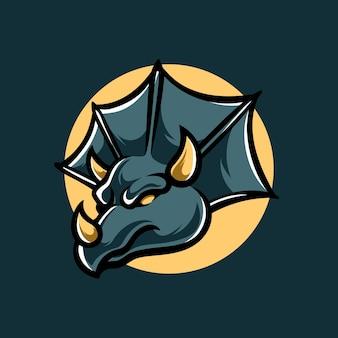 Logo de la mascotte triceratops e sport