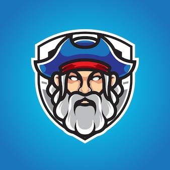 Logo mascotte vieil homme pirates