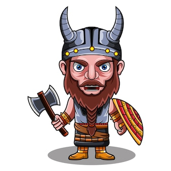 Logo de la mascotte viking chibi