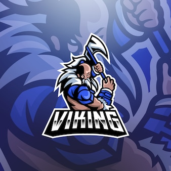 Logo Mascotte Viking Esports Vecteur Premium