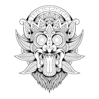 Logo de mascotte vintage tête de barong