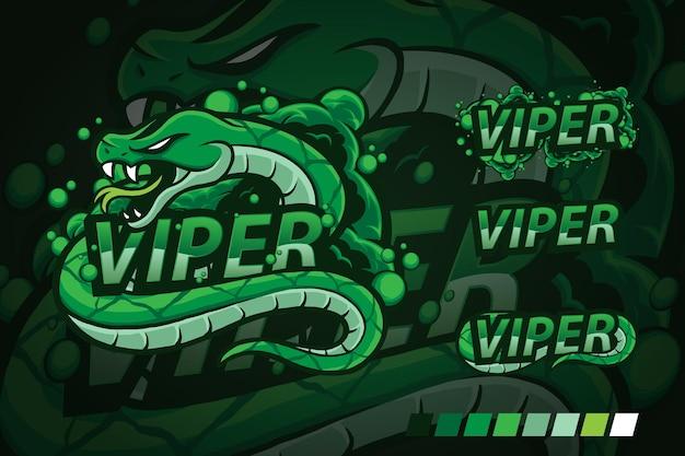 Logo de mascotte de vipère de venin de serpent vert avec la conception de texte de faisceaux