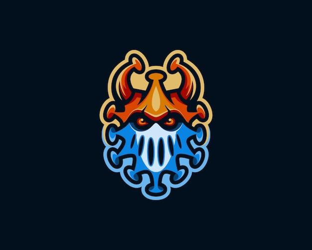 Logo de mascotte de virus. logo de virus esport coloré