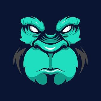 Logo de mascotte de visage de gorille