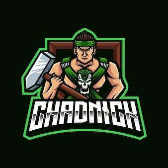 Logo de mascotte warrior gaming pour le streamer et la communauté esports