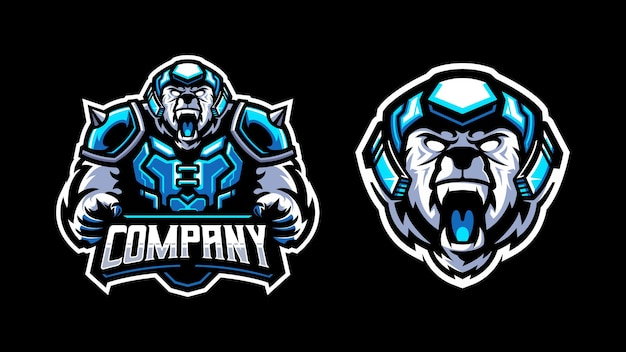 Logo mascto guerrier ours