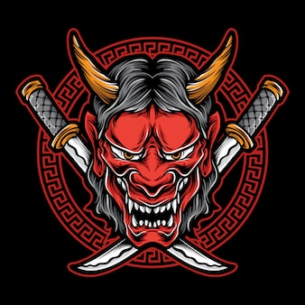 Logo de masque de démon japonais