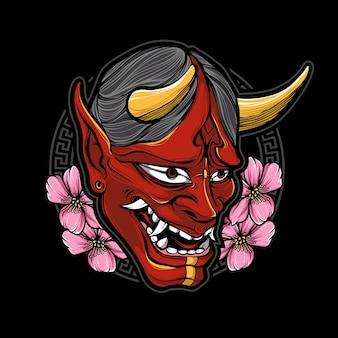 Logo de masque oni rouge