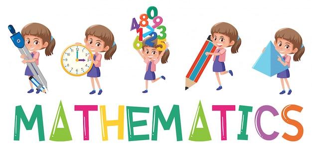 Logo De Mathématiques Avec Fille Dans De Nombreux Mouvements Isolés Vecteur Premium