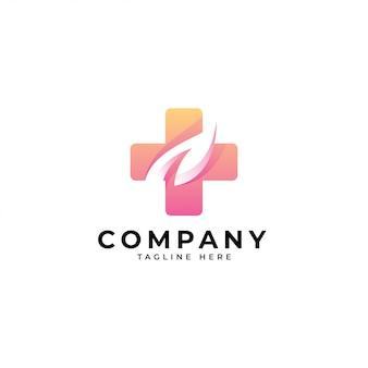 Logo médical feuille de nature moderne et santé croisée