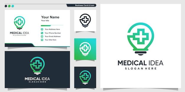 Logo médical avec style d'ampoule d'idée créative vecteur premium