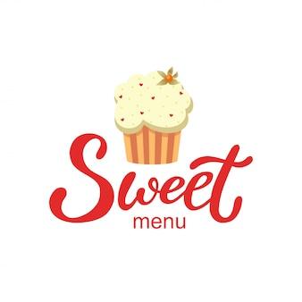 Logo de menu sucré dessiné à la main