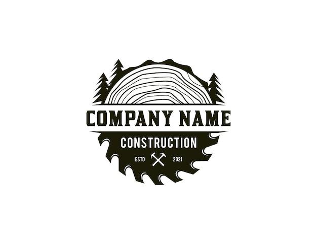 Logo de menuiserie avec lame de scie et icône de ligne d'arbre
