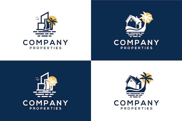 Logo de mer, bateau ou voile et bâtiment pour entreprise immobilière