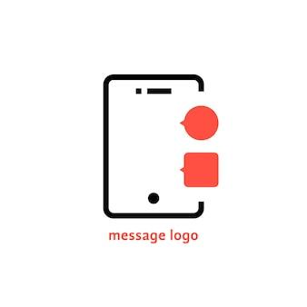 Logo de message avec téléphone de contour. concept de trafic de données, messagerie vocale, sms, avis, dialogue, e-mail, boîte de réception. isolé sur fond blanc. illustration vectorielle de style plat tendance logotype moderne design
