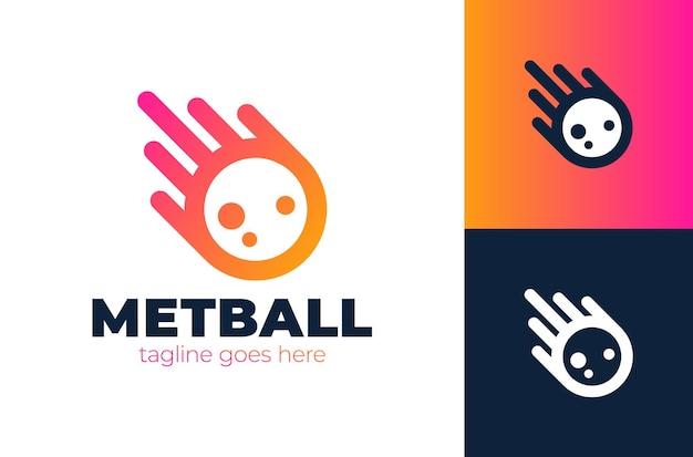Logo de météore d'impact avec illustration d'icône de queue. modèle de logo de météore